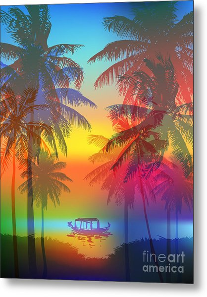 Tropical Sunset On Palm Beach And Metal Print