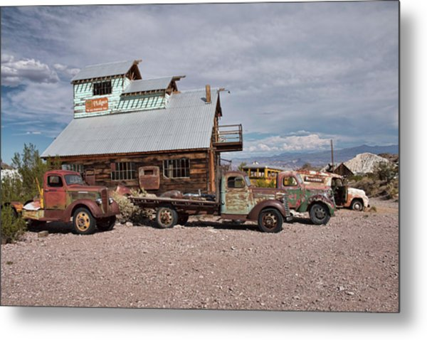 Trucks Lined Up In Nelson Metal Print