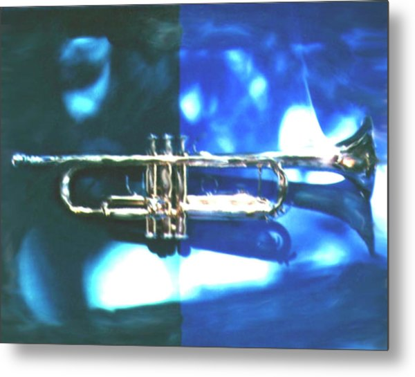 Trumpet, Blue Metal Print by Claire Rydell