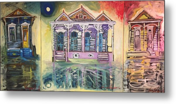 Tryptic On The Bayou New Orleans Metal Print
