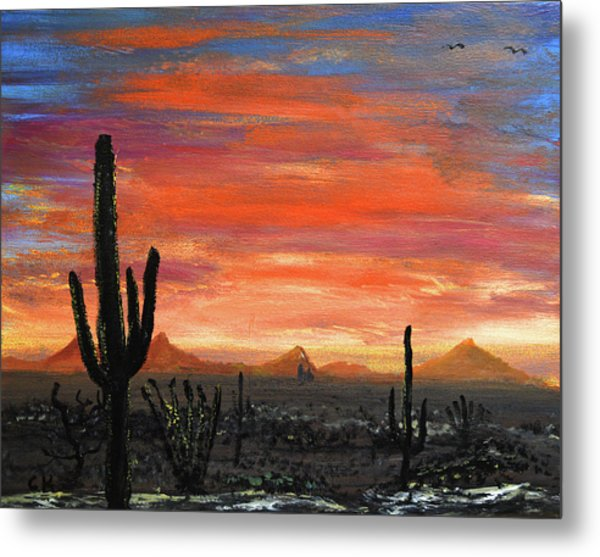 Metal Print featuring the painting Tucson Mountains At Sunset by Chance Kafka