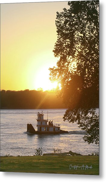 Tugboat On Mississippi River Metal Print