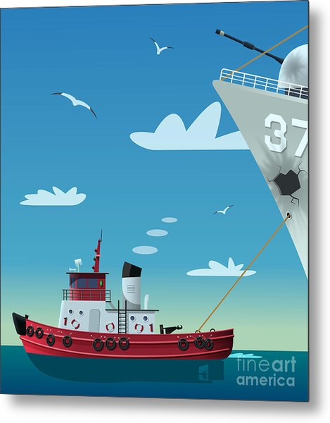 Tugboat Pulling Damaged Navy Ship Metal Print