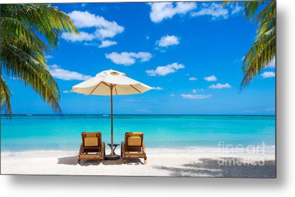 Turquoise Sea, Deckchairs, White Sand Metal Print