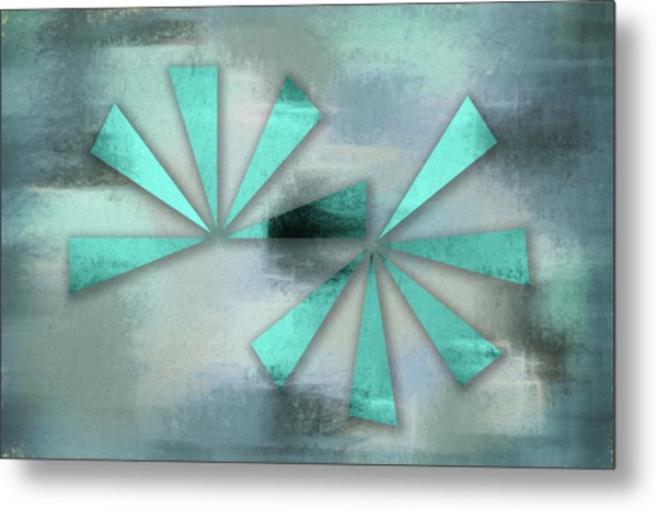 Turquoise Triangles On Blue Grey Backdrop Metal Print