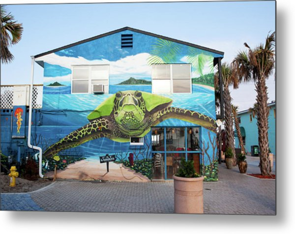 Turtle Mural In Cocoa Beach Metal Print