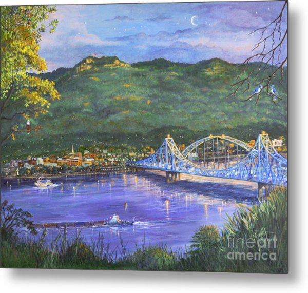 Twilight At Blue Bridges Metal Print