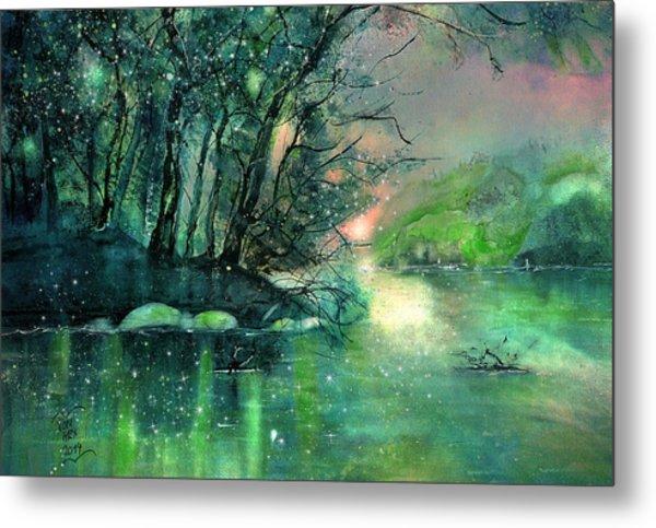 Twilight At The River Rhine Metal Print