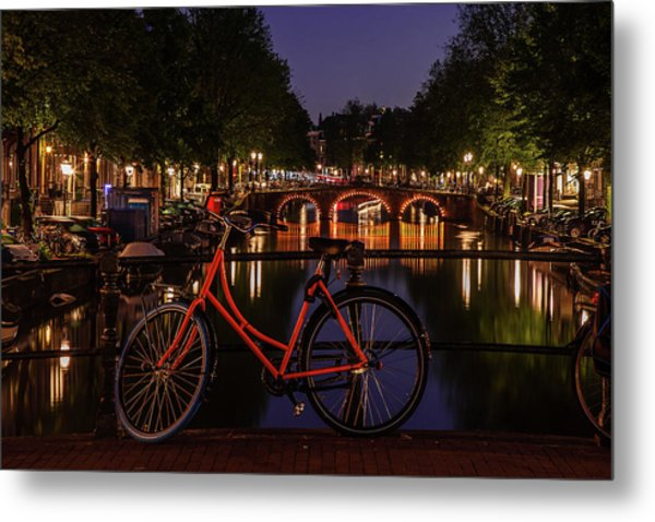 Twilight Over An Amsterdam Canal Metal Print