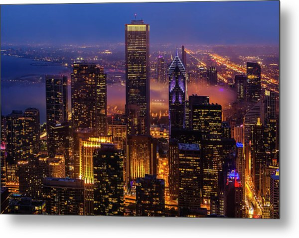 Twilight Over Chicago Metal Print