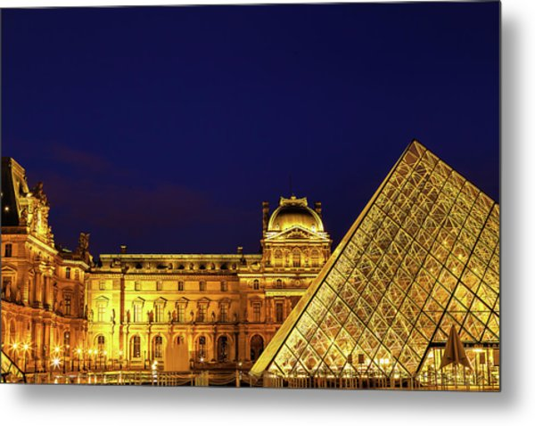 Twilight Over The Louvre Metal Print