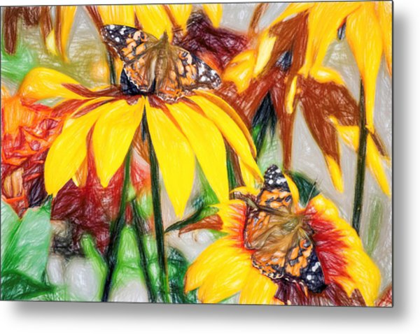Twin Painted Lady Butterflies Pencil Metal Print