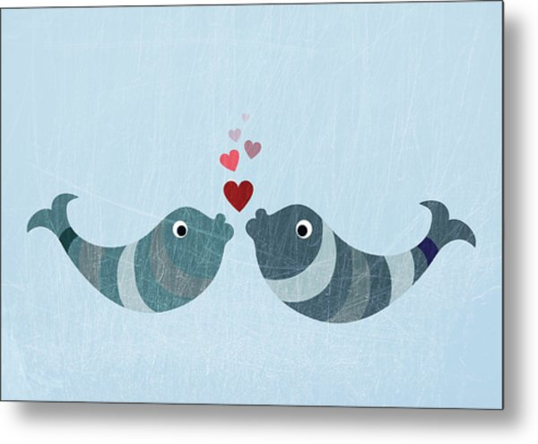 Two Fish Kissing Metal Print by Fstop Images - Jutta Kuss