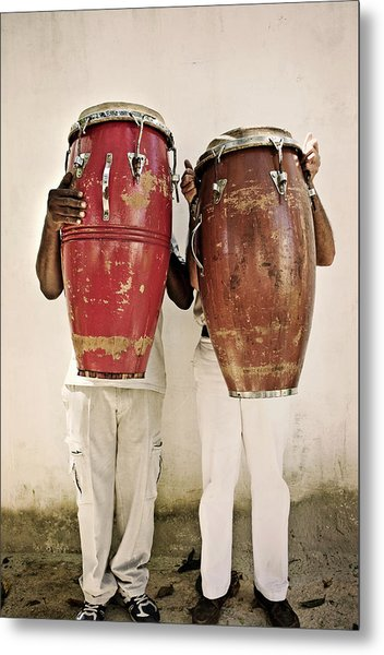 Two Men Holding Bongos In Front Of Metal Print