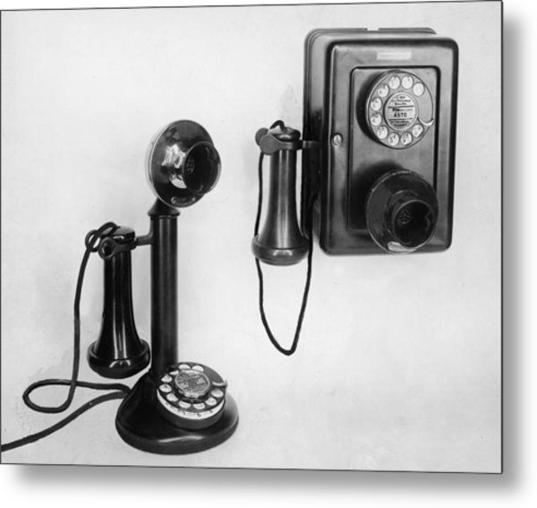 Two Old-fashioned Telephones Metal Print by Authenticated News