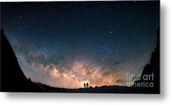 Two People Standing Together Holding Metal Print by Anton Jankovoy