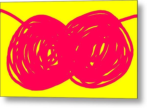 Two Red Cherries Metal Print