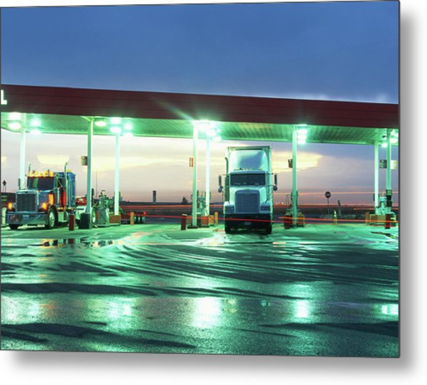 Two Semi Trucks Parked At Gas Station Metal Print