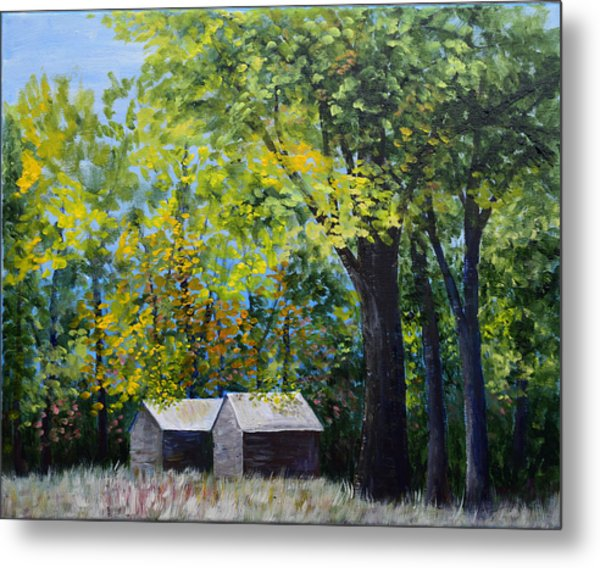 Two Sheds In The Trees Metal Print
