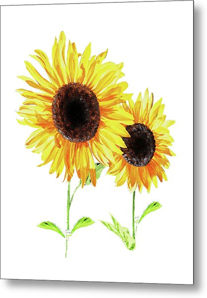 Two Sunny Sunflowers Watercolor Metal Print
