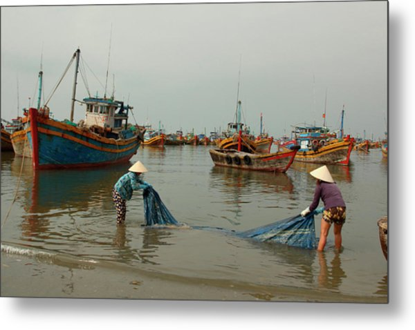 Two Women Washing Canvas At A Harbor Metal Print