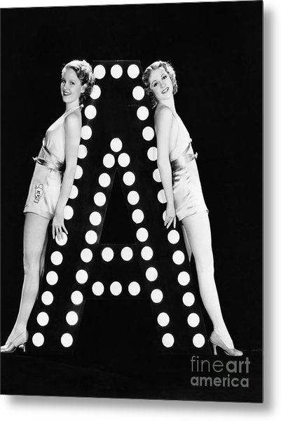 Two Young Women Posing With The Letter A Metal Print