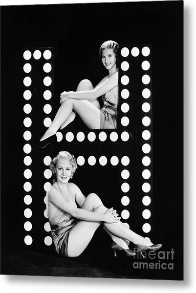 Two Young Women Posing With The Letter H Metal Print