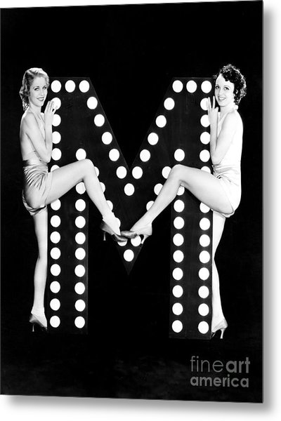 Two Young Women Posing With The Letter M Metal Print