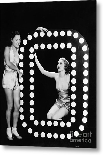 Two Young Women Posing With The Letter O Metal Print