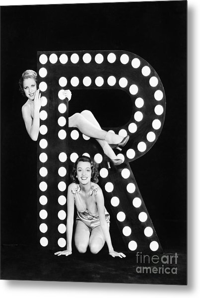 Two Young Women Posing With The Letter R Metal Print