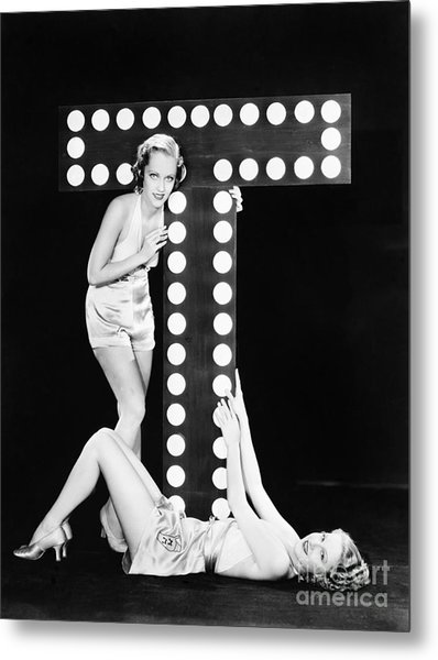 Two Young Women Posing With The Letter T Metal Print