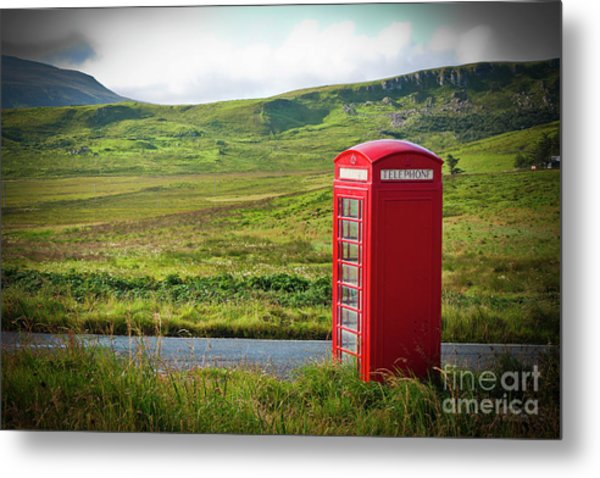 Typical Red English Telephone Box In A Rural Area Near A Road. Metal Print