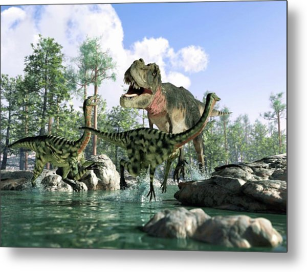 Tyrannosaurus Rex Hunting, Artwork Metal Print by Science Photo Library - Leonello Calvetti