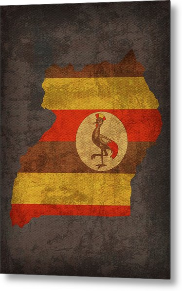 Uganda Country Flag Map Metal Print