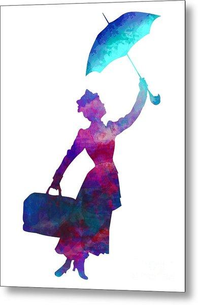 Umbrella Lady Metal Print