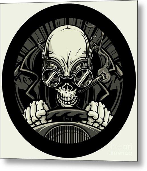 Undead Stock Car Racer. Vector Metal Print by Stockmambadotcom