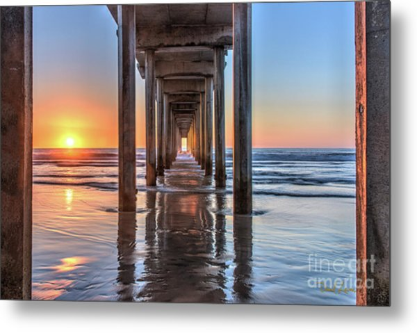 Under Scripps Pier At Sunset  ..autographed.. Metal Print