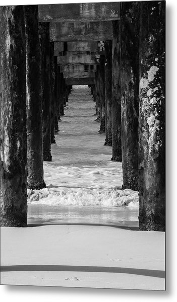 Under The Pier #2 Bw Metal Print