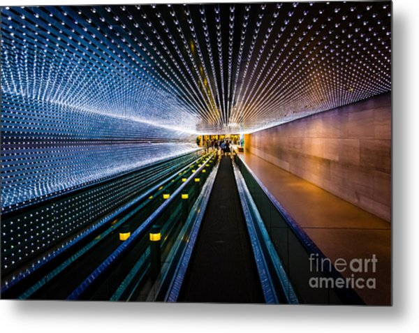 Underground Moving Walkway At The Metal Print
