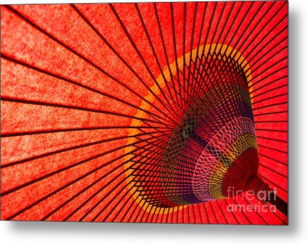 Underside Of Red Japanese Parasol Metal Print