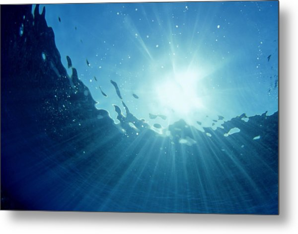 Underwater Looking Up Teahupoo, Tahiti Metal Print by Scott Winer