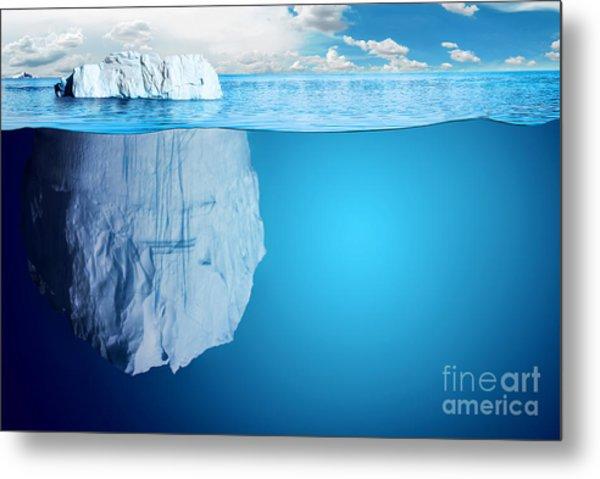 Underwater View Of Iceberg With Metal Print by Niyazz