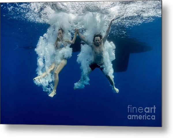 Underwater View Of The Young Couple Metal Print
