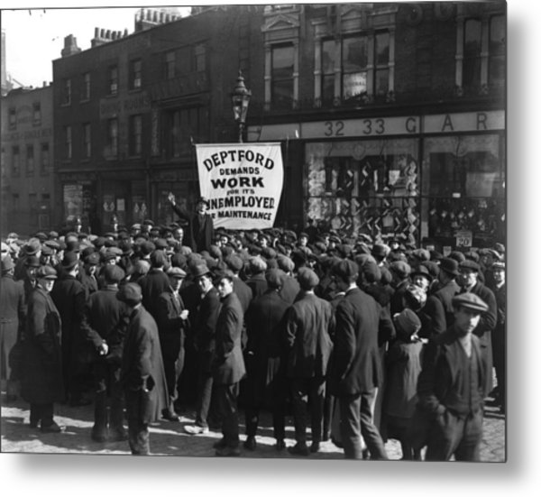 Unemployment Rally Metal Print by Central Press