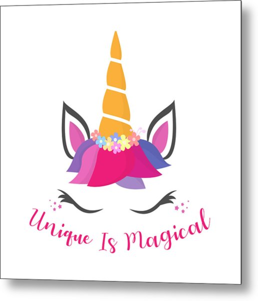 Unique Is Magical - Baby Room Nursery Art Poster Print Metal Print