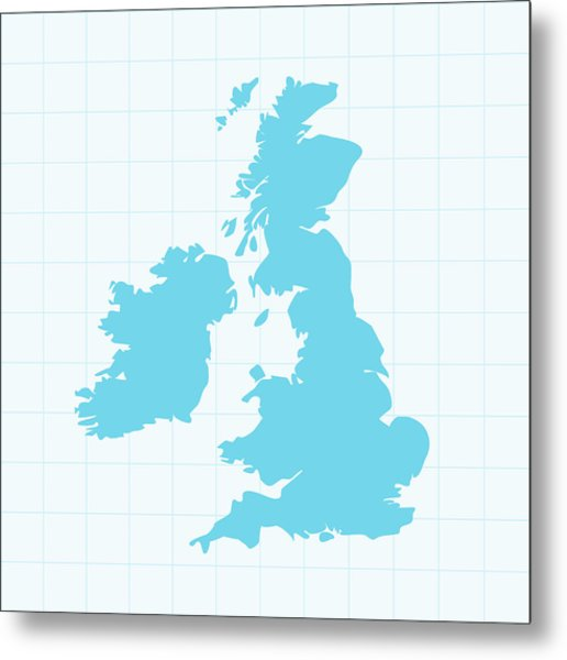 United Kingdom Map On Grid On Blue Metal Print by Iconeer