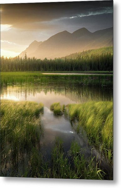 Upper Whitefish Golden Light / Whitefish, Montana  Metal Print