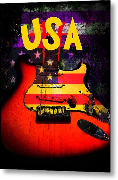 Usa Flag Guitar Purple Stars And Bars Metal Print