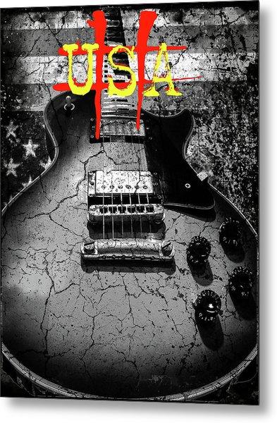 Usa Flag Guitar Relic Metal Print