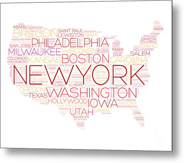 Usa Map Word Cloud With Most Important Metal Print
